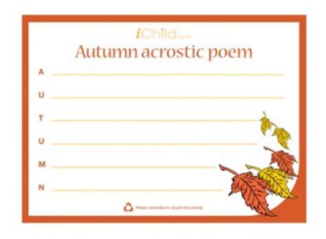 Fall Acrostic Poem Printable