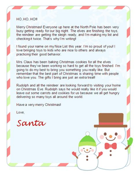 free printable letters from father christmas free christmas letter from santa free santa letters net