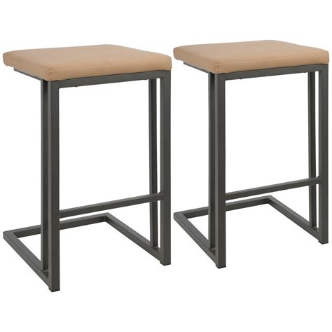Grey Faux Leather Counter Stools by Lumisource 26 In Camel Faux Leather With Grey