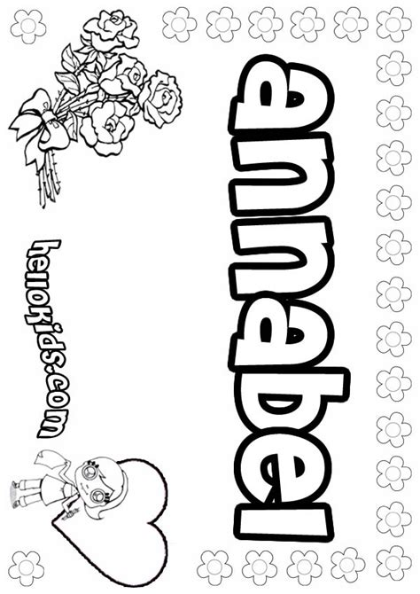 coloring page with name annabel coloring pages hellokids com