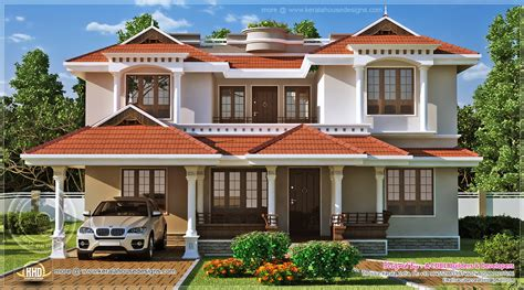 beautiful home exterior in 2446 square kerala home