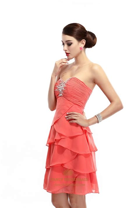 Metaphor Coral Layer Dress coral beaded strapless chiffon bridesmaid dress with layered skirt fancy bridesmaid dresses