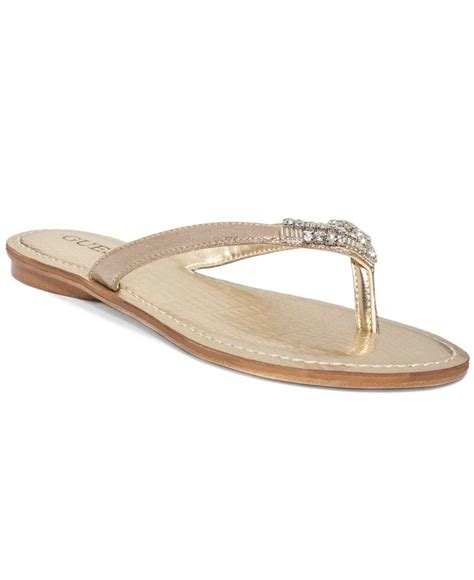 sandals guess guess s griffa flip flop sandals in metallic lyst