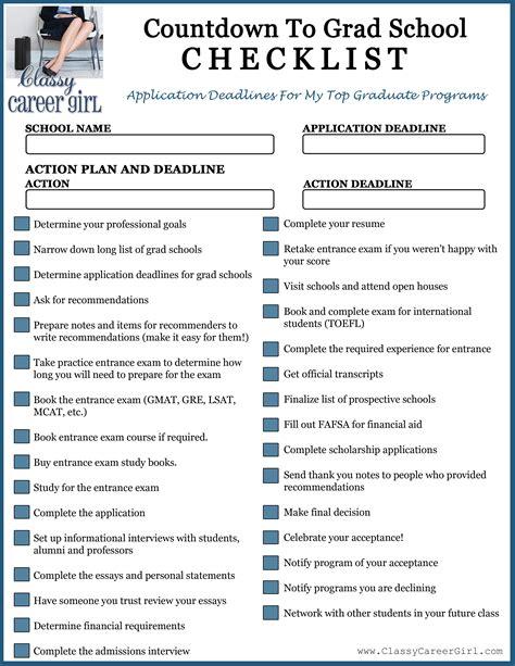 graduation checklist template countdown to grad school checklist free school