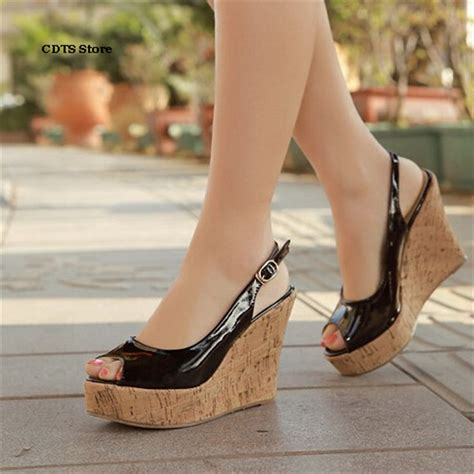 Sandal Wedges Ym08 Hitam 43 aliexpress buy cdts small yards 30 31 32 33 plus 43 brand 2016 wedges sandals high