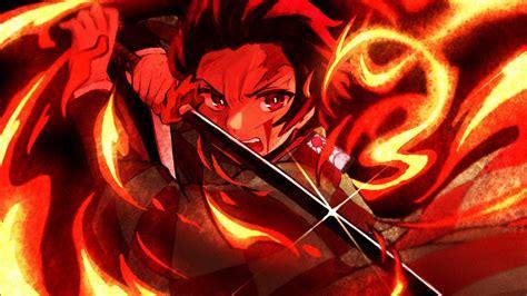 demon slayer tanjiro kamado  sharp sword  fire hd