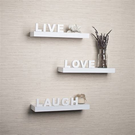 white laminate live laugh inspirational wall