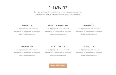 service section how to build a barbershop website with divi elegant
