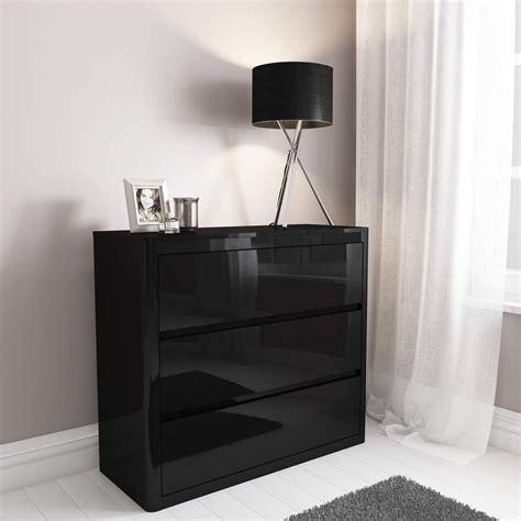 bedroom drawer black high gloss 3 drawer chest of drawers ebay