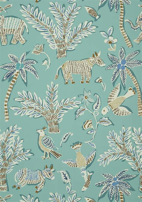 wallpaper for walls in goa goa teal t88723 collection trade routes from thibaut