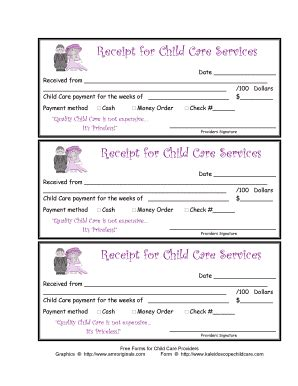 receipt book template for child care service day care services form fill printable fillable