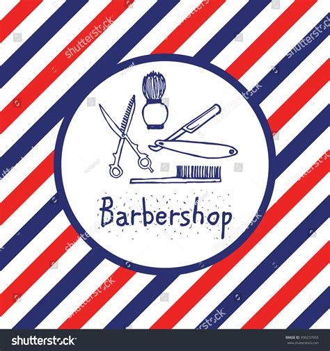 colors barber shop barbershop logo circle barber pole color stock vector