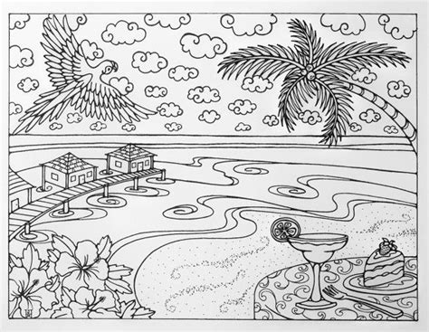 coloring pages for adults beach tropical beach vacation adult coloring page by