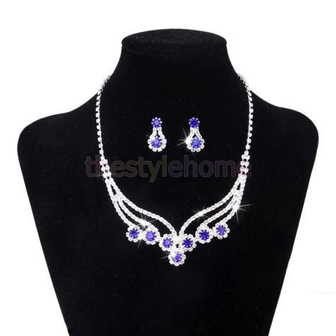 royal blue rhinestone prom formal wedding earrings