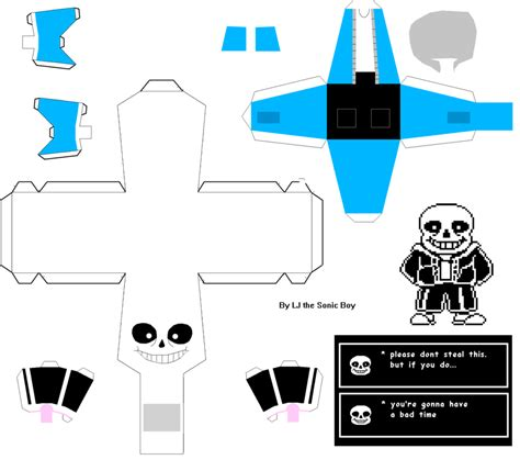 Papercraft Pattern - undertale sans papercraft by ljthesonicboy on deviantart