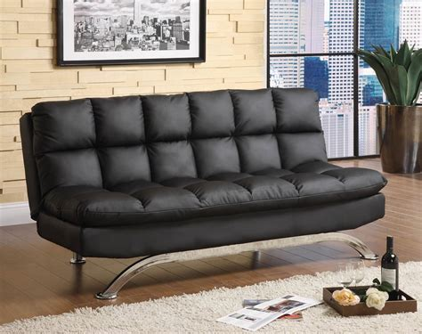 Futon Leather Sofa Bed Black Leather Futon Sofa Bed Comfy Pillow Top