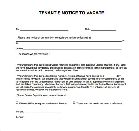8 Notice To Vacate Sles Sle Templates Notice To Vacate Letter To Tenant Template