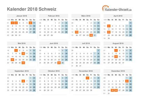 Jahreskalender 2018 Mit Feiertagen Kalender 2018 Mit Feiertagen Schweiz