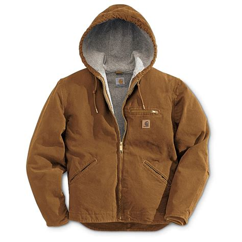 carhartt coat carhartt 174 sandstone sierrra hooded jacket 125138 insulated jackets coats at