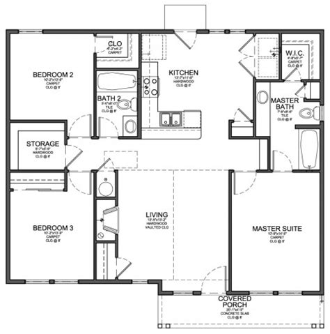 home design by engineer floor plan for small 1 200 sf house with 3 bedrooms and 2