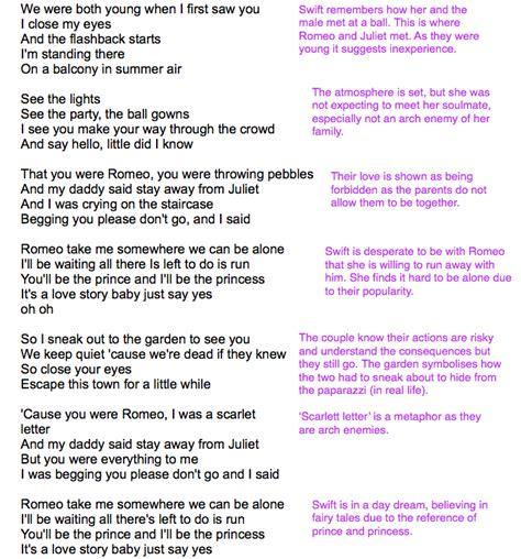 printable lyrics to love story by taylor swift ruby rhodes a2 media studies lyric analysis taylor