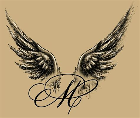 beautiful stylish angel wings tattoo design