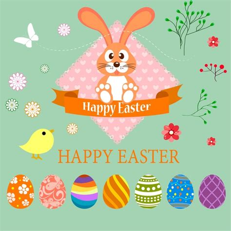 easter card design illustration with bunny and eggs free