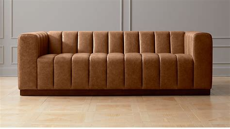 Saddler Leather Sofa by Forte Channeled Saddle Leather Sofa Reviews Cb2