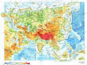 Physical map of asia in russian asia large detailed physical map in