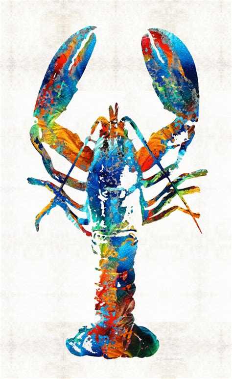 colorful lobster crustaceans r o c k abstract by
