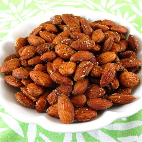 Roasted Nuts vij s spiced roasted almonds or cashews in the kitchen with kath