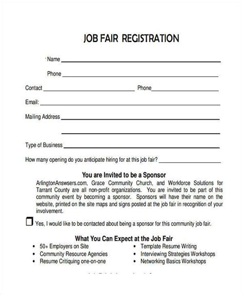 9 Job Registration Form Sles Free Sle Exle Format Download Career Fair Template