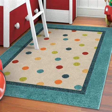 Area Rugs For Playrooms Carolina Weavers Playroom Collection Dotted Border Teal Area Rug 5 2 X 7 6 By Carolina Weavers