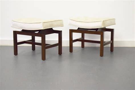 pair of floating walnut stools by jens risom for sale at