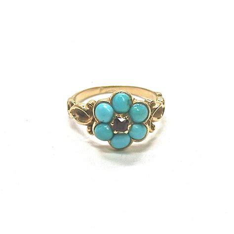 antique turquoise garnet forget me not ring