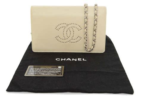Metallic Woc Bnib chanel leather studded cc wallet on chain woc bag shw at 1stdibs