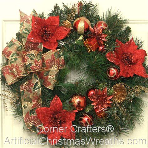 christmas poinsettia accent wreath