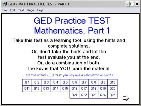 Printable Ged Math Practice Test With Answers Pdf