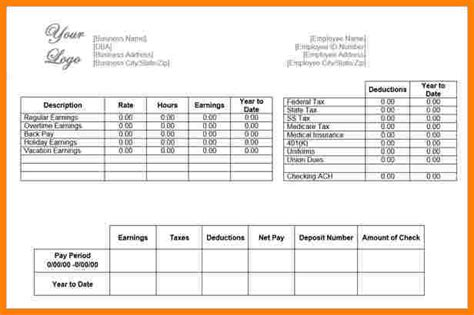 free pay stub template download free paycheck stub template download