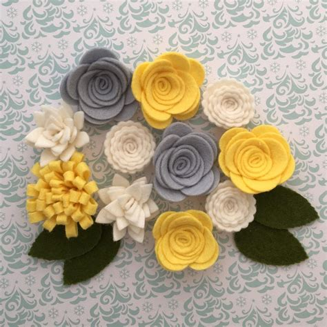 Handmade Woolen Flowers - handmade wool felt flowers grey yellow and white