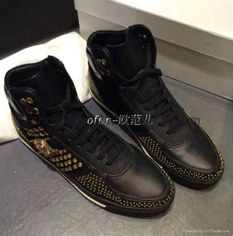 versace black studded leather high top sneakers mens