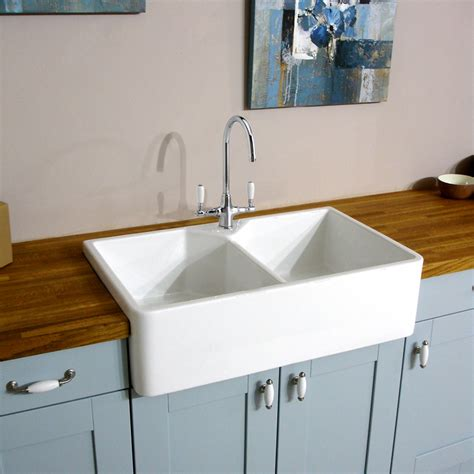 White Kitchen Sink Astini Belfast 800 2 0 Bowl Traditional White Ceramic Kitchen Sink Waste Tap Ebay