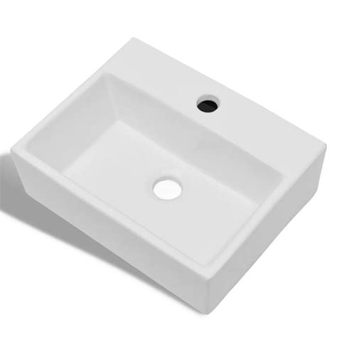 Kitchen Sink Basins Vidaxl Bathroom Sink Basin With Faucet Ceramic White Vidaxl
