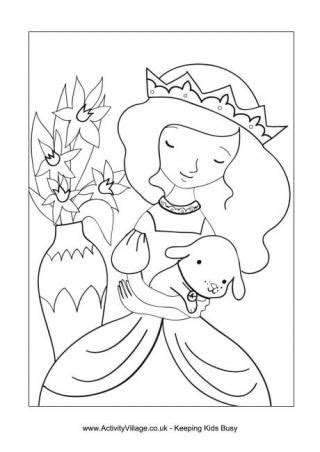 puppy princess princess colouring pages