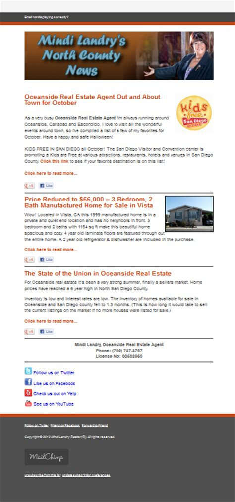 mailchimp mobile templates mailchimp email newsletter for a real estate