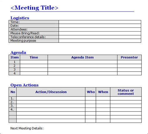 minute meeting template free meeting minutes template 16 free documents in