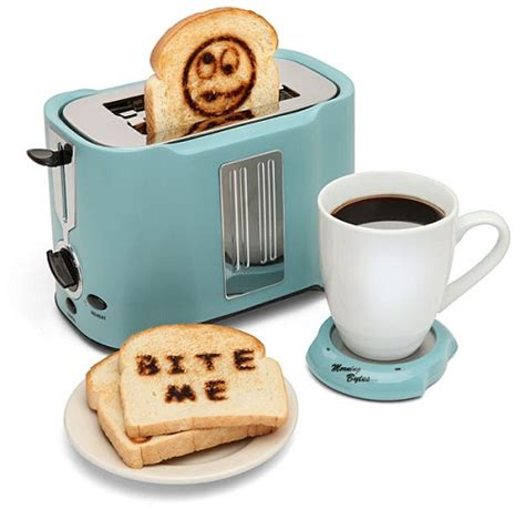 cool kitchen accessories pop art toaster prints happy messages on your toast ohgizmo