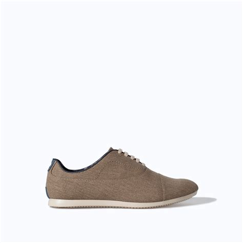 beige oxford shoes zara canvas oxford shoe in beige for sand lyst