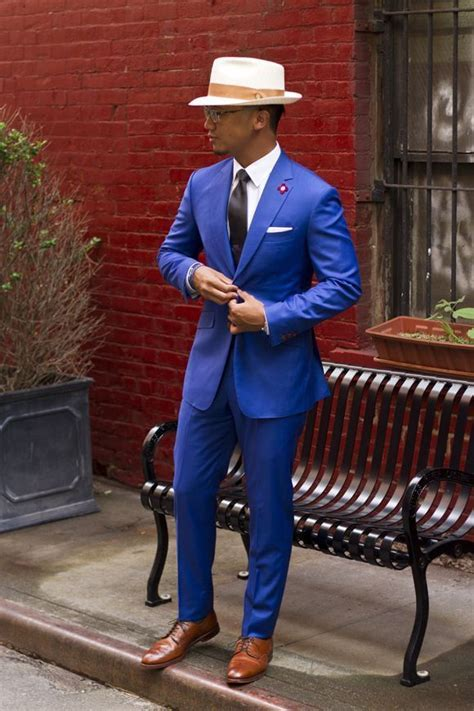 Men's Blue Blazer, White Dress Shirt, Blue Dress Pants