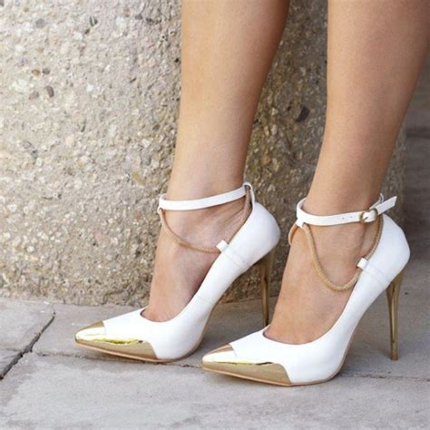 Pointy Pumps With Ankle white and gold ankle heels pointy toe pumps stiletto